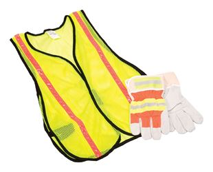 Safety Works  Large  Cotton  Safety Vest and Glove Combination Kit