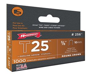 Arrow T25  Round  Crown Staples  Gray  3/8 in. L