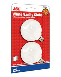 Ace  Incandescent Light Bulb  25 watts 210 lumens Globe  G16-1/2  Candelabra Base (E12)  2 pk