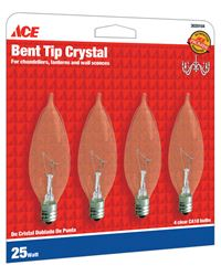 Ace  Incandescent Light Bulb  25 watts 235 lumens Bent Tip  CA10  Candelabra Base (E12)  4 pk