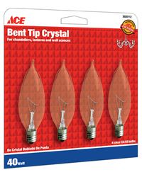 Ace  Incandescent Light Bulb  40 watts 370 lumens Bent Tip  CA10  Candelabra Base (E12)  4 pk