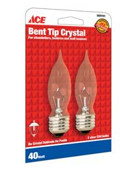 Ace  Incandescent Light Bulb  40 watts 330 lumens Bent Tip  CA9  Medium Base (E26)  2 pk