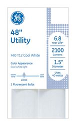 GE  Fluorescent Bulb  40 watts 2100 lumens Linear  T12  48 in. L Cool White  2 pk