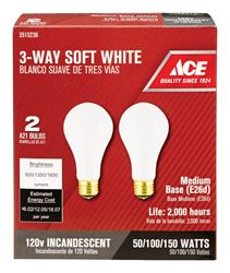 Ace  Incandescent Light Bulb  50/100/150 watts 500/1350/1850 lumens 2700 K A-Line  A21  Medium Base