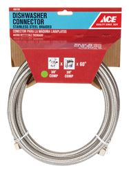 Ace  3/8 in. Compression   x 3/8 in. Dia. MIP  Stainless Steel  Dishwasher  Supply Line  60 in.