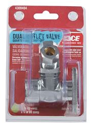 Ace  1/2 in. Dia. x 3/8 in. Dia. Brass  Dual Shut-Off Valve