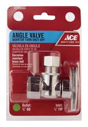 Ace  1/2 in. Dia. x 3/8 in. Dia. Brass  Shut-Off Valve
