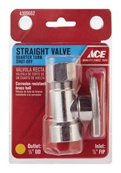 Ace  1/2 in. Dia. x 1/2 in. Dia. Brass  Shut-Off Valve