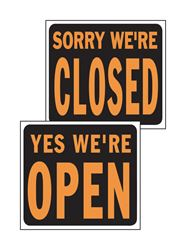 Hy-Ko  English  15 in. H x 19 in. W Plastic  Reversible Sign  Yes We're Open/Sorry We're Closed