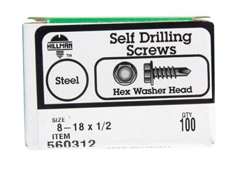 Hillman  Hex Washer  Hex Drive  Self Drilling Screws  Steel  8-18   x 1/2 in. L 100 per box