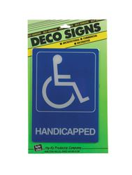Hy-Ko  Deco Signs  English  7 in. H x 5 in. W Plastic  Sign  Handicapped