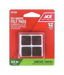 Ace  Felt  Square  Self Adhesive Pad  Brown  3/4 in. W x 3/4 in. L 12 pk