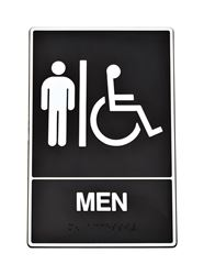 Hy-Ko  English  9 in. H x 6 in. W Plastic  Sign  Men (Handicap, Braille)