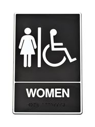 Hy-Ko  English  9 in. H x 6 in. W Plastic  Sign  Women (Handicap, Braille)