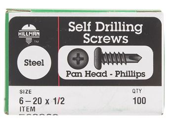Hillman  Pan Head  Phillips Drive  Self Drilling Screws  Steel  6-20   x 1/2 in. L 100 per box