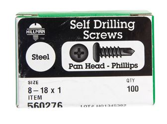 Hillman  Pan Head  Phillips Drive  Self Drilling Screws  Steel  8-18   x 1 in. L 100 per box