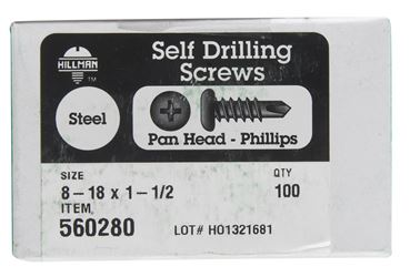 Hillman  Pan Head  Phillips Drive  Self Drilling Screws  Steel  8-18   x 1-1/2 in. L 100 per box