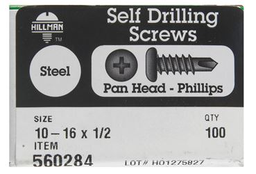 Hillman  Pan Head  Phillips Drive  Self Drilling Screws  Steel  10-16   x 1/2 in. L 100 per box