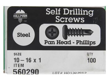 Hillman  Pan Head  Phillips Drive  Self Drilling Screws  Steel  10-16   x 1 in. L 100 per box