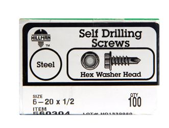 Hillman  Hex Washer  Hex Drive  Self Drilling Screws  Steel  6-20   x 1/2 in. L 100 per box