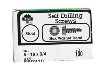 Hillman  Hex Washer  Hex Drive  Self Drilling Screws  Steel  8-18   x 3/4 in. L 100 per box