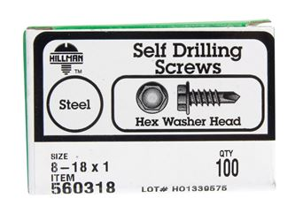 Hillman  Hex Washer  Hex Drive  Self Drilling Screws  Steel  8-18   x 1 in. L 100 per box