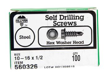 Hillman  Hex Washer  Hex Drive  Self Drilling Screws  Steel  10-16   x 1/2 in. L 100 per box