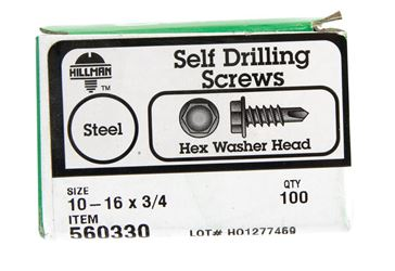 Hillman  Hex Washer  Hex Drive  Self Drilling Screws  Steel  10-16   x 3/4 in. L 100 per box