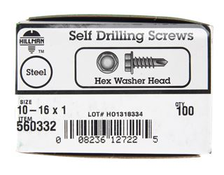 Hillman  Hex Washer  Hex Drive  Self Drilling Screws  Steel  10   x 1 in. L 100 per box