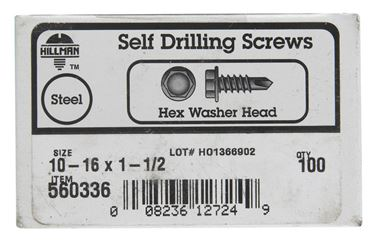 Hillman  Hex Washer  Hex Drive  Self Drilling Screws  Steel  10-16   x 1-1/2 in. L 100 per box