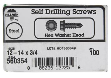 Hillman  Hex Washer  Hex Drive  Self Drilling Screws  Steel  12-14   x 3/4 in. L 100 per box