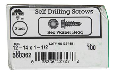 Hillman  Hex Washer  Hex Drive  Self Drilling Screws  Steel  12-14   x 1-1/2 in. L 100 per box