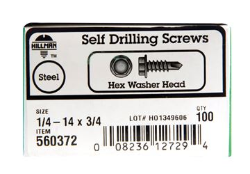 Hillman  Hex Washer  Hex Drive  Self Drilling Screws  Steel  1/4-14   x 3/4 in. L 100 per box