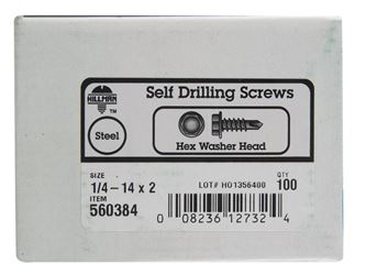 Hillman  Hex Washer  Hex Drive  Self Drilling Screws  Steel  1/4-14   x 2 in. L 100 per box