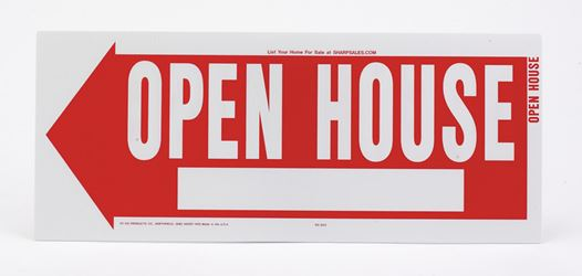 Hy-Ko  English  10 in. H x 24 in. W Plastic  Sign  Open House