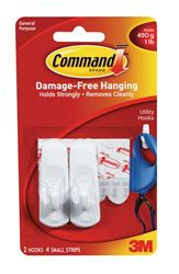 3M Command  Small  Utility  Hook  2-3/8 in. L Plastic  1 lb. per Hook  2 pk