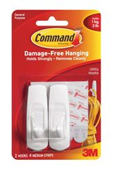 3M Command  Medium  Utility  Hook  3-7/8 in. L Plastic  3 lb. per Hook  2 pk