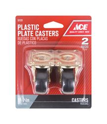 Ace  Plastic  Caster Wheel with Plate  1-4/5 in. H x 1-4/5 in. W x 1-5/8 in. Dia. 50 lb. Black  2 pk