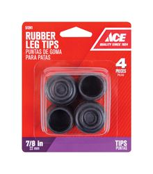 Ace  Rubber  Round  Leg Tip  Black  7/8 in. W 4 pk
