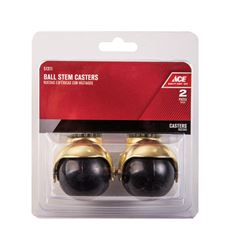 Ace  2 in. Dia. Swivel Bright Brass  Hooded Ball Caster with Stem  80 lb. 2 pk