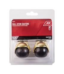 Ace  1-5/8 in. Dia. Swivel Bright Brass  Hooded Ball Caster with Stem  75 lb. 2 pk