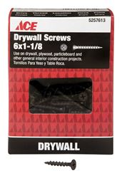 Ace  No. 6   x 1-1/8 in. L Phillips  Drywall Screws  Bugle Head  Black Phosphate  Coarse Thread  1 l