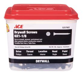 Ace  No. 6   x 1-1/8 in. L Phillips  Drywall Screws  Bugle Head  Black Phosphate  Coarse Thread  5 l