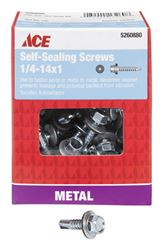 Ace  Hex Washer  Hex Drive  Self-Sealing Screws  Steel  1/4-14   x 1 in. L 1 lb.