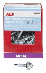 Ace  Hex Washer  Hex Drive  Self-Sealing Screws  Steel  1/4-14   x 1-1/2 in. L 1 lb.