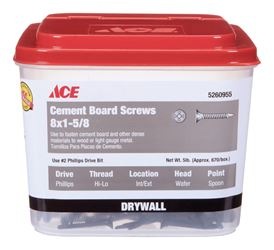Ace  Cement Board Screws  Phillips  High/Low  No. 8  1-5/8 in. L Ceramic  5 lb. Gray