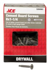 Ace  Cement Board Screws  Phillips  Tapping  No. 8  1-1/4 in. L Ceramic  1 lb. Gray
