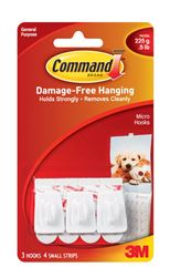 3M Command  Micro  Hook  Plastic  1/2 lb. per Hook  3 pk