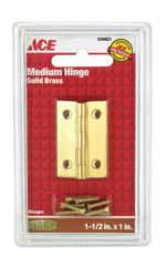 Ace  1-1/2 in. W x 1 in. L Medium Hinge  Polished Brass