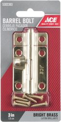 Ace Barrel Bolt 3 in. Bright Brass For Lightweight Doors, Chests and Cabinets